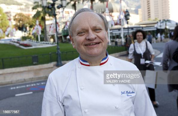 French chef Joel Robuchon poses during the festivities marking the 25th anniversary of French chef Alain Ducasse's restaurant 'Le Louis XV' on...