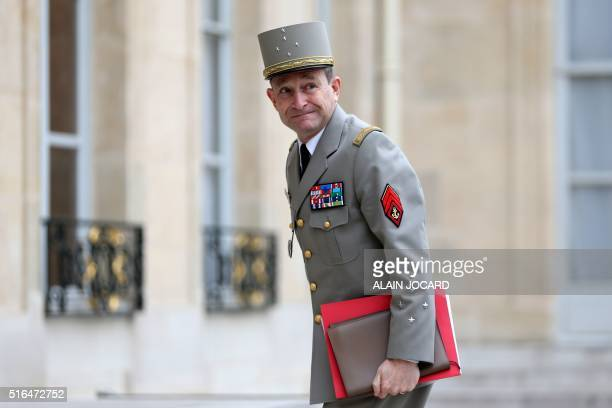 French Chief of Defence Pierre de Villiers arrives to attend a Defence Council with French ministers and security officials at the Elysee Palace on...