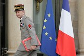 French Chief of the Defence Staff General Pierre de Villiers arrives at the Elysee Palace for the meeting with French President Francois Hollande and...