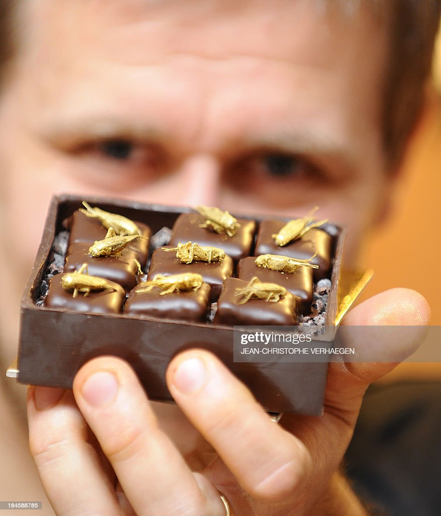 French chocolate maker Sylvain Musquar presents a box of chocolates topped with crickets on October 12, 2013 in his store in Villers-les-Nancy, northeastern France. After working in Japan and South Korea, Musquar had the idea of placing gold-coated mealworms or crickets on his chocolates.