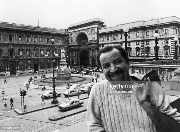 French choreographer Maurice Bejart poses at Piazza della Scala in Milan 15 June 1984 after the press conference when he presented his ballet for...