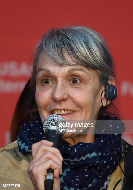 French cinematographer Agnes Godard attends a press conference of the New Currents Jury for the 22nd Busan International Film Festival at the Busan...