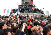 French citizens celebrate at Place de la Bastille after Francois Hollande wins the French Presidential Elections on May 6 2012 in Paris France...