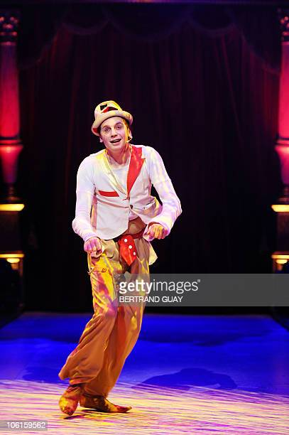 French clown Julien Cottereau performs during the 'Prestige' Bouglione circus show at the Cirque d'Hiver in Paris on October 26 2010 AFP PHOTO /...