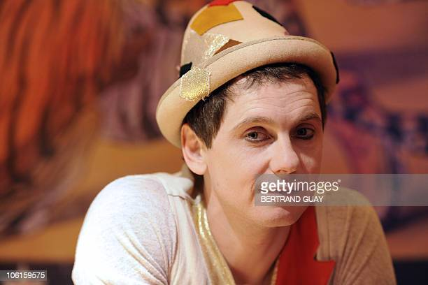 French clown Julien Cottereau poses backstage before performing in the 'Prestige' Bouglione circus show at the Cirque d'Hiver in Paris on October 26...