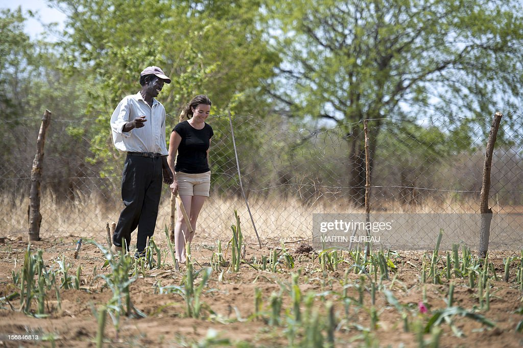 French CNRS researcher Chloe Guerbois (R) talks to Victor Bitu (L), the owner of a field destroyed by elephants, on November 19, 2012 in the village of Magoli, at the border of Hwange National Park in Zimbabwe.