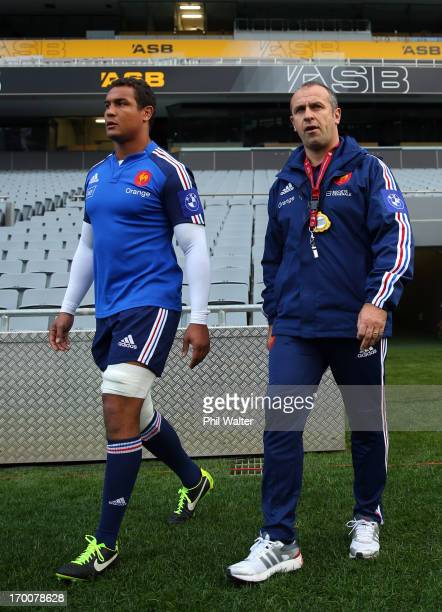 French coach Philippe SaintAndre and captain Thierry Dusautoir during the France captain's run at Eden Park on June 7 2013 in Auckland New Zealand