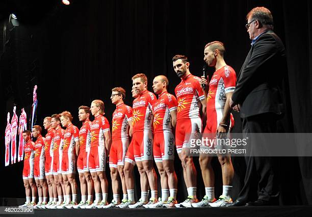 French Cofidis' new cyclist team leader Nacer Bouhanni speaks during a presentation of the team at the regional covered velodrome of Roubaix on...