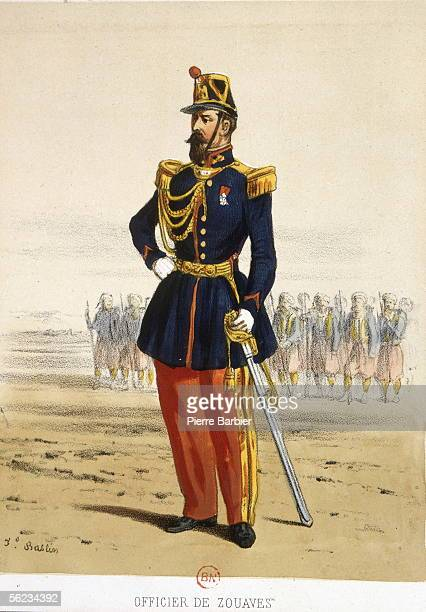 French Colonial Army Officer of zouaves at the end of the XIXth century