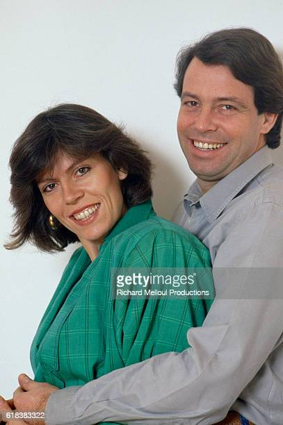 French comedian Michel Leeb stands with his wife Beatrice