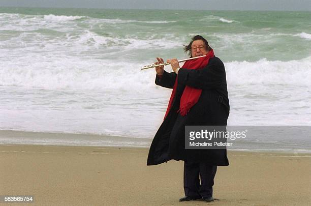 French Comedian Raymond Devos on Beach