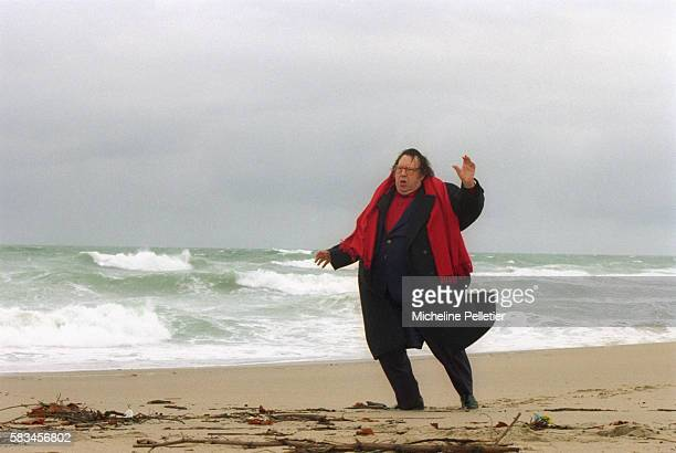 French comedian Raymond Devos on the beach