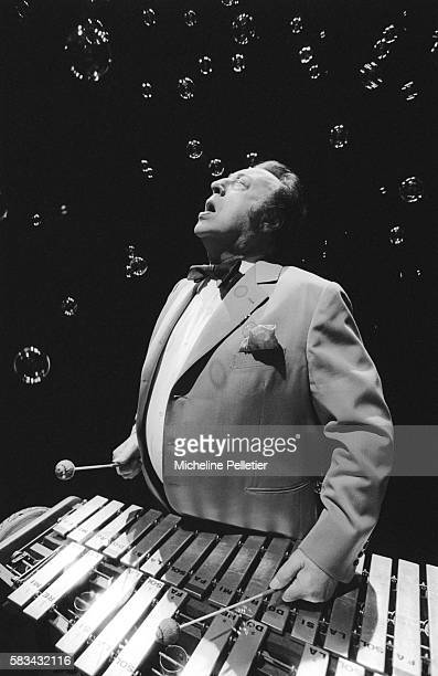 French comedian Raymond Devos plays the xylophone during a live performance in Paris