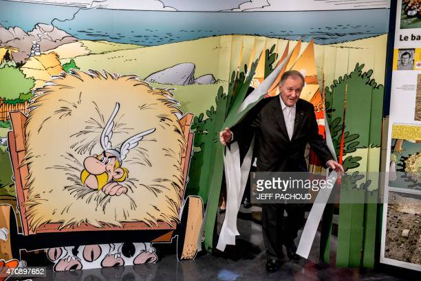 French comic book artist and scriptwriter Albert Uderzo attends an exhibition dedicated to the Asterix comic books series which he cocreated on April...