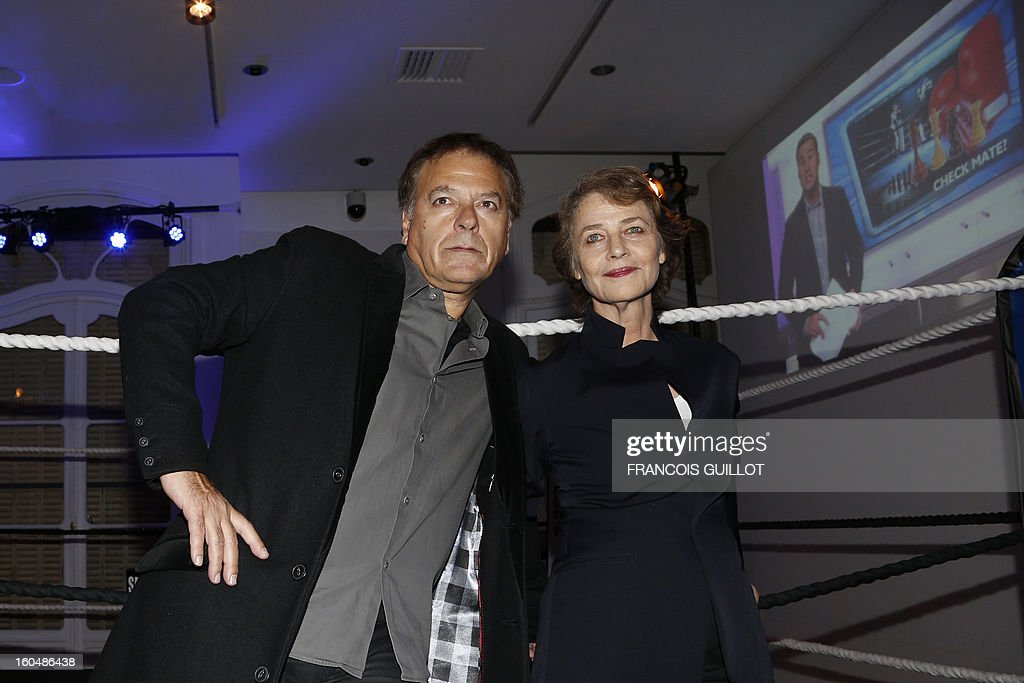 French comic book artist Enki Bilal (L) and English actress Charlotte Rampling pose after attending France's first official chessboxing match on February 1, 2013 at Artcurial auction house in Paris. Chess boxing is a hybrid sport that combines chess with boxing in alternating rounds. The sport was invented by French artist and filmmaker Enki Bilal in one of his comic book in 1992.