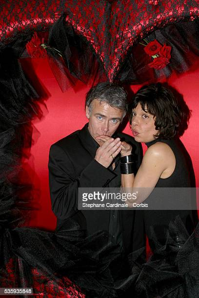 French comics Franck Dubosc and Isabelle Mergault at Le Doyen restaurant Photo by People Avenue/Corbis