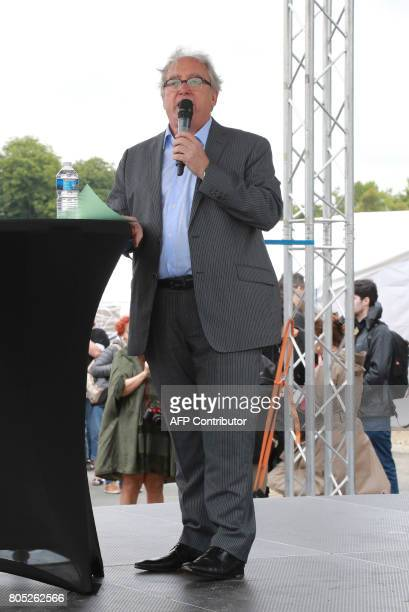 French Communist Party member Christian Lamothe alias Christian Picquet delivers a speech during a rally for the launch of a movement led by French...
