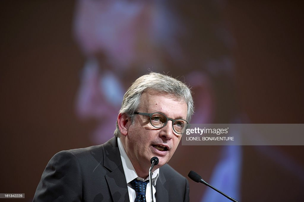 French Communist Party (PCF) national secretary Pierre Laurent delivers a speech on February 10, 2013, closing the 36th Congress of the French Communist Party in Saint-Denis, north of Paris. Pierre Laurent, 55, the sole candidate to his own succession was re-elected as the PCF's national secretary with 100 percent of the 624 votes.