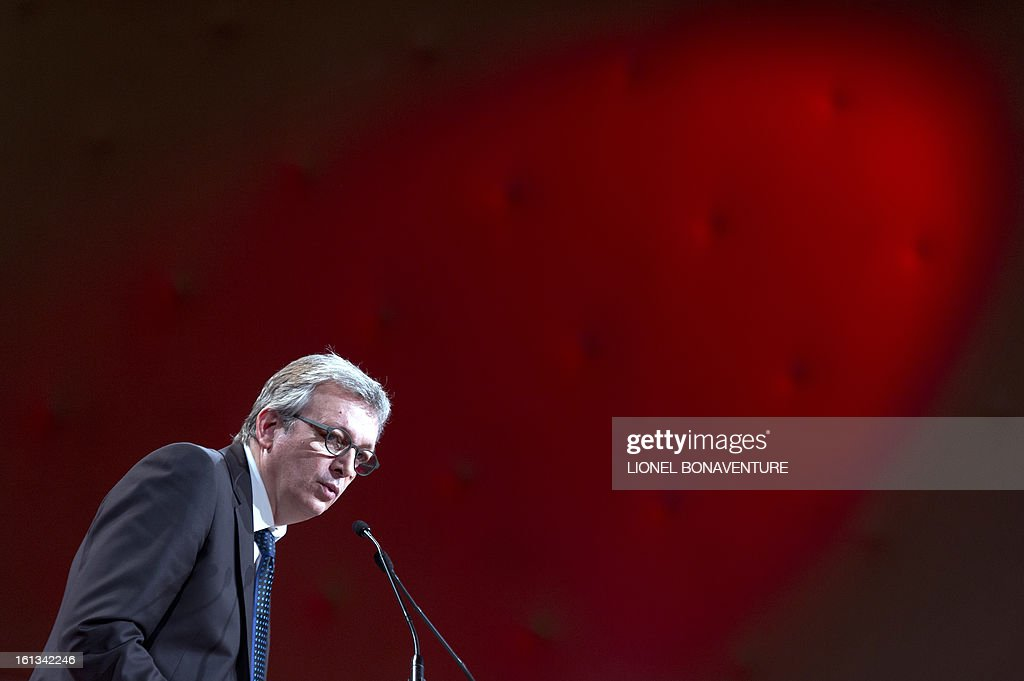 French Communist Party (PCF) national secretary Pierre Laurent delivers a speech on February 10, 2013, closing the 36th Congress of the French Communist Party in Saint-Denis, north of Paris. Pierre Laurent, 55, the sole candidate to his own succession was re-elected as the PCF's national secretary with 100 percent of the 624 votes. AFP PHOTO / LIONEL BONAVENTURE