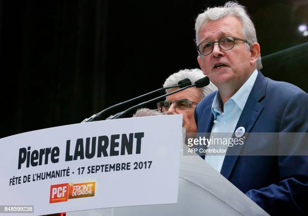 French Communist Party national secretary Pierre Laurent delivers a speech during the 82nd edition of the annual 'Fete de l'humanite' music festival...