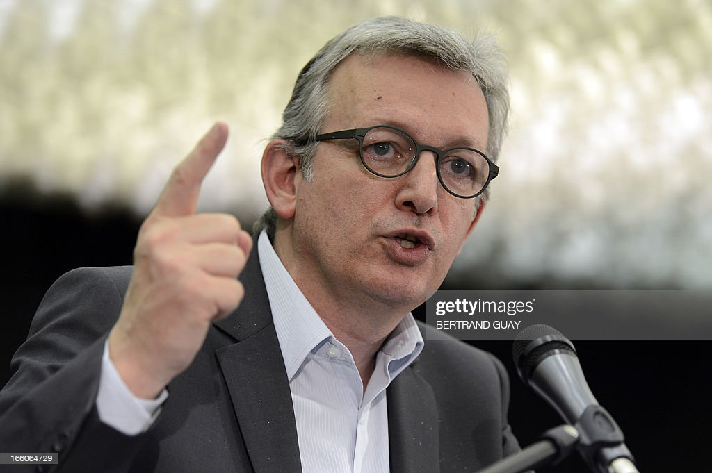 French Communist Party (PCF) national secretary Pierre Laurent gestures as he gives a speech during a press conference on April 8, 2013 in Paris, following an exceptional meeting of the PCF's National Executive Committee focused on 'The Cahuzac case, fraud and tax evasion. The PCF new republic's proposals'.