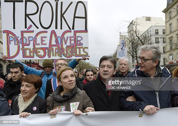 French Communist Party national secretary Pierre Laurent leftist Front de Gauche leader JeanLuc Melenchon and spokesperson of French Left party...