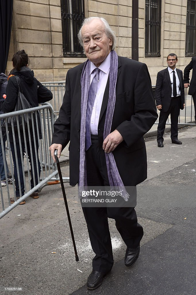 French Communist Party (PCF) senator and former minister Jack Ralite arrives on June 11, 2013 at the Socialist Party's (PS) headquarters in Paris, to take part in a ceremony to pay tribute to late former French Prime Minister Pierre Mauroy. Mauroy, who was premier between 1981 and 1984 under France's first Socialist president Francois Mitterrand, died aged 84 on June 7, 2013.