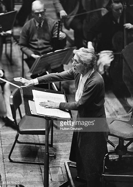 French composer conductor organist and teacher Nadia Boulanger at the conductor's rostrum