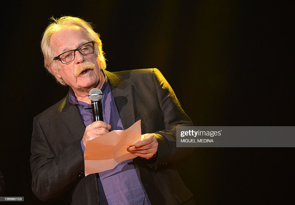 French composer, Eric Demarsan speaks after receiving the 'Grand Prix de la musique pour l'image' during the SACEM (Societe des auteurs, compositeurs et editeurs de musique) Grand Prix awards ceremony on November 26, 2012 at the Casino de Paris. Every year the SACEM Grand Prix awards identify favourites among creators from the music, entertainment and audiovisual worlds and the media. AFP PHOTO MIGUEL MEDINA