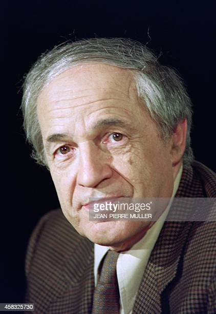 French composer Pierre Boulez poses for the photographer on the set of the French television program '7 sur 7' where he was the guest on December 09...