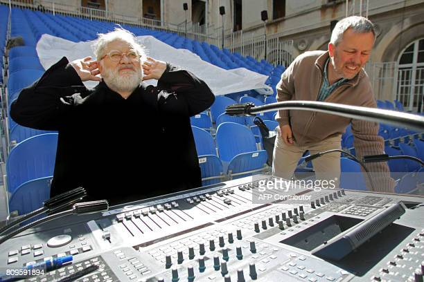 French composer Pierre Henry gestures 11 July 2007 at the SaintJoseph school in Avignon southern France during the 61st edition of the Avignon...