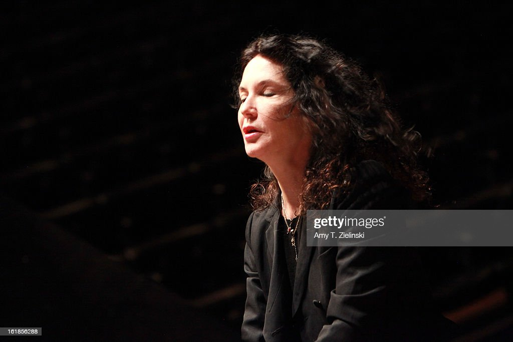 French concert pianists <a gi-track='captionPersonalityLinkClicked' href=/galleries/search?phrase=Katia+Labeque&family=editorial&specificpeople=5796021 ng-click='$event.stopPropagation()'>Katia Labeque</a> rehearses with her sister Marielle Labeque and the Kalakan Trio on percussion Ravel's 'Bolero' arrangement for duo piano for a performance as part of 'Imagine' family concerts and also the 'The Rest Is Noise' programming at the Queen Elizabeth Hall on February 17, 2013 in London, England.