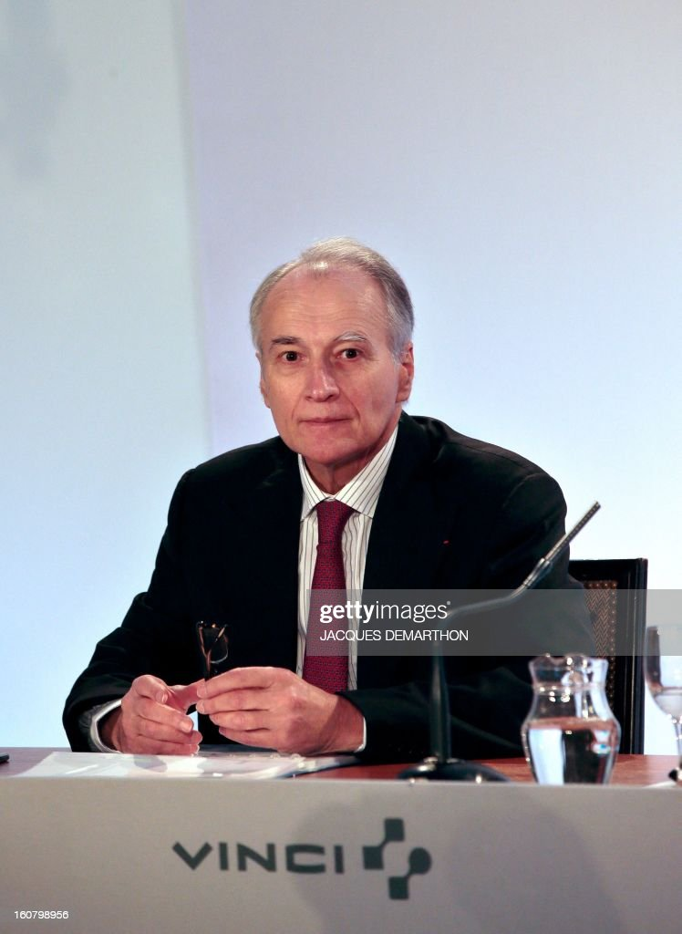 French concession and construction group Vinci chairman Xavier Huillard looks on during the group's general meeting in Paris on February 6, 2013. Vinci share price lost 2,53 per cent at 35,69 euros.