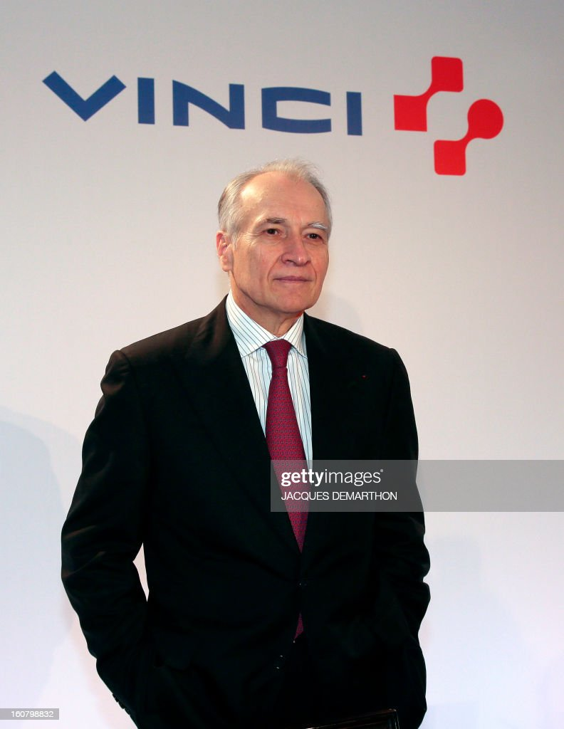 French concession and construction group Vinci chairman Xavier Huillard poses during the group's general meeting in Paris on February 6, 2013. Vinci share price lost 2,53 per cent at 35,69 euros. AFP PHOTO/JACQUES DEMARTHON