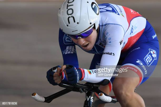 French Coralie Demay competes during the Woman's individual Elite of the French championships ahead on August 15 2017 at the Hyeres' velodrome...