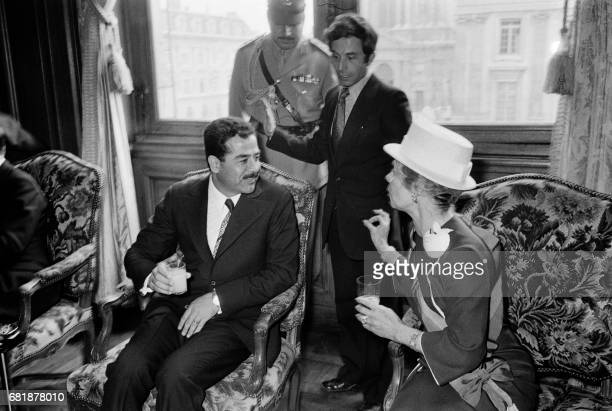 French Council President Nicole de Hauteclocque confers with VicePresident of Iraqi's Council Saddam Hussein at the Paris' city hall on June 15 1972...