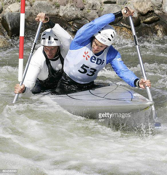 French couple Cedric Forgit and Martin Braud compete in the Kayak slalom selection for the qualification of the 2008 Olympic Games in Beijing in La...