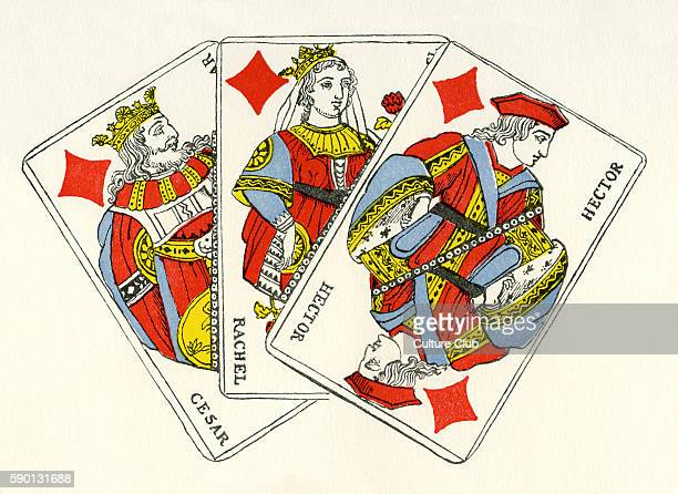 French court cards diamonds / carreaux King representing Ceasar Queen representing Rachel and jack / knave representing Hector Early 19th century...