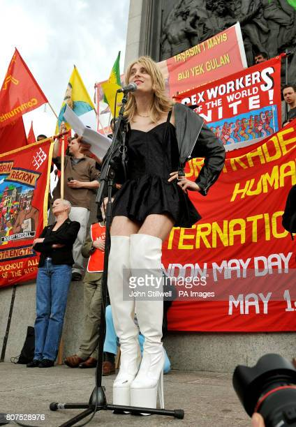A French crossdressing man adresses the crowd during a Trades Union May Day rally in Trafalgar Square in central London