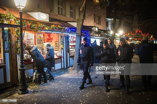 French CRS police officers patrol on November 21 2015 at the Colmar Christmas market French lawmakers gave nearunanimous backing on November 20 to a...