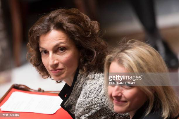 French Culture minister Audrey Azoulay and French Junior Minister for Climate and Biodiversity Barbara Pompili look on during a session of questions...