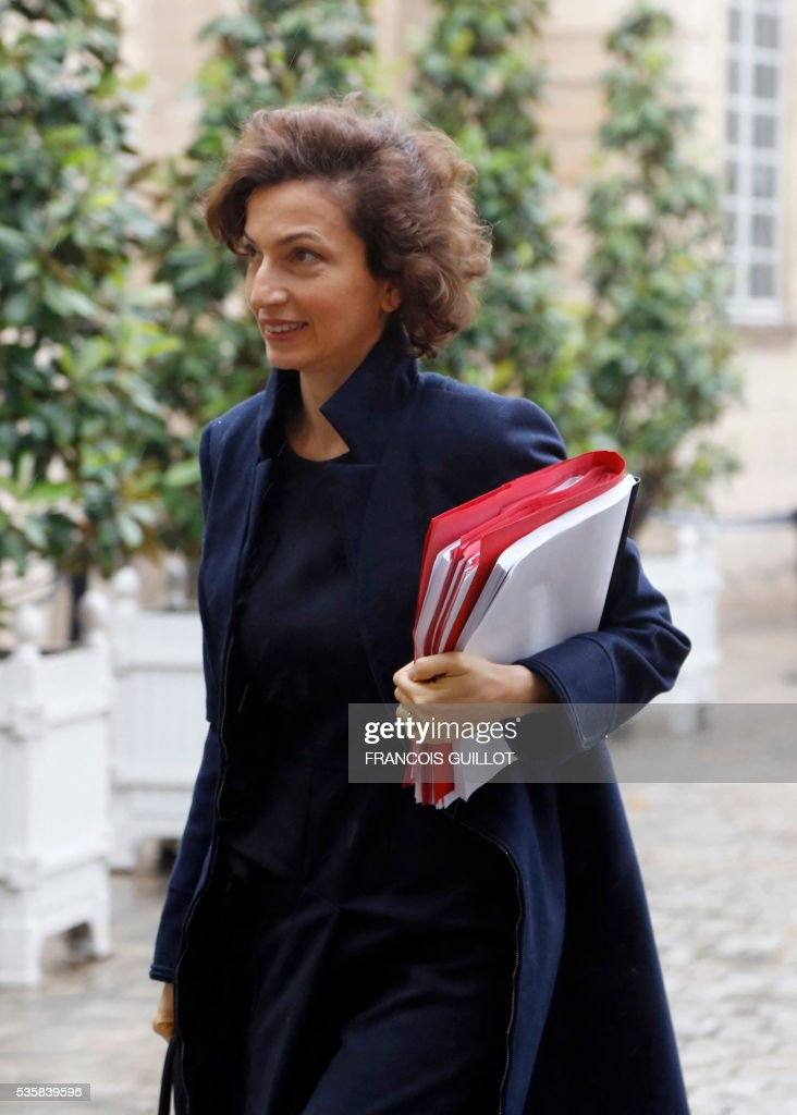French Culture Minister Audrey Azoulay arrives to attend the national commission on the fight against undeclared work on May 30, 2016 at the hotel Matignon in Paris. / AFP / FRANCOIS