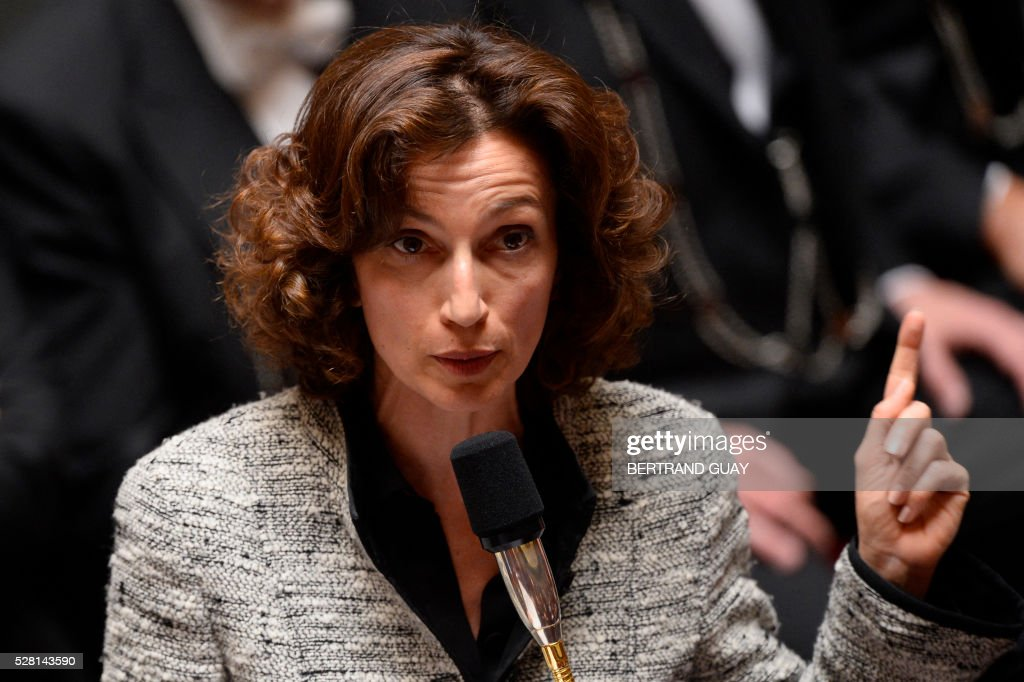 French Culture minister Audrey Azoulay delivers a speech during a session of questions to the Government on May 4, 2016 at the French National Assembly in Paris. / AFP / BERTRAND