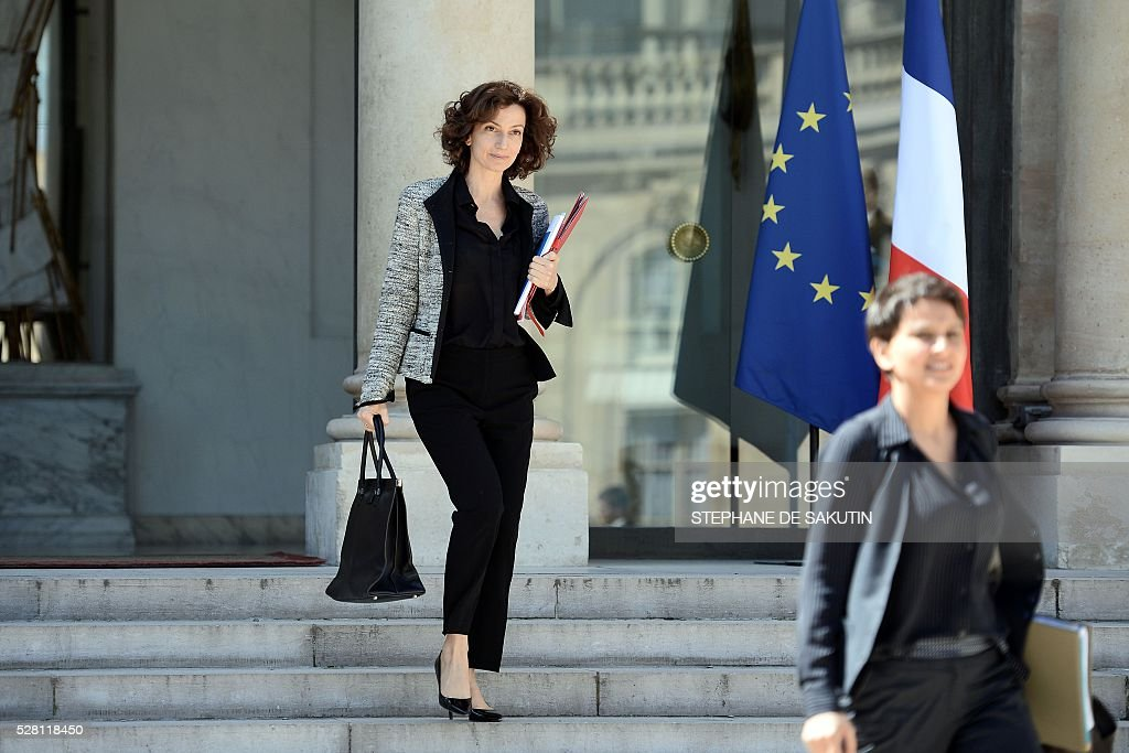 French Culture minister Audrey Azoulay leaves the Elysee presidential Palace after the weekly cabinet meeting in Paris on May 4, 2016.