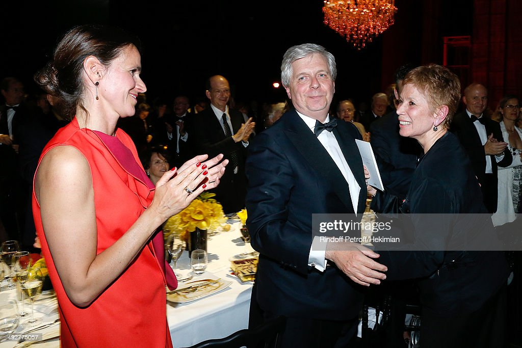 French Culture Minister Aurelie Filippetti and Director of the National Opera Stephane Lissner pay tribute to Dance Director of the 'Opera de Paris' Brigitte Lefevre at the AROP Charity Gala. Held at Opera Bastille on May 21, 2014 in Paris, France.