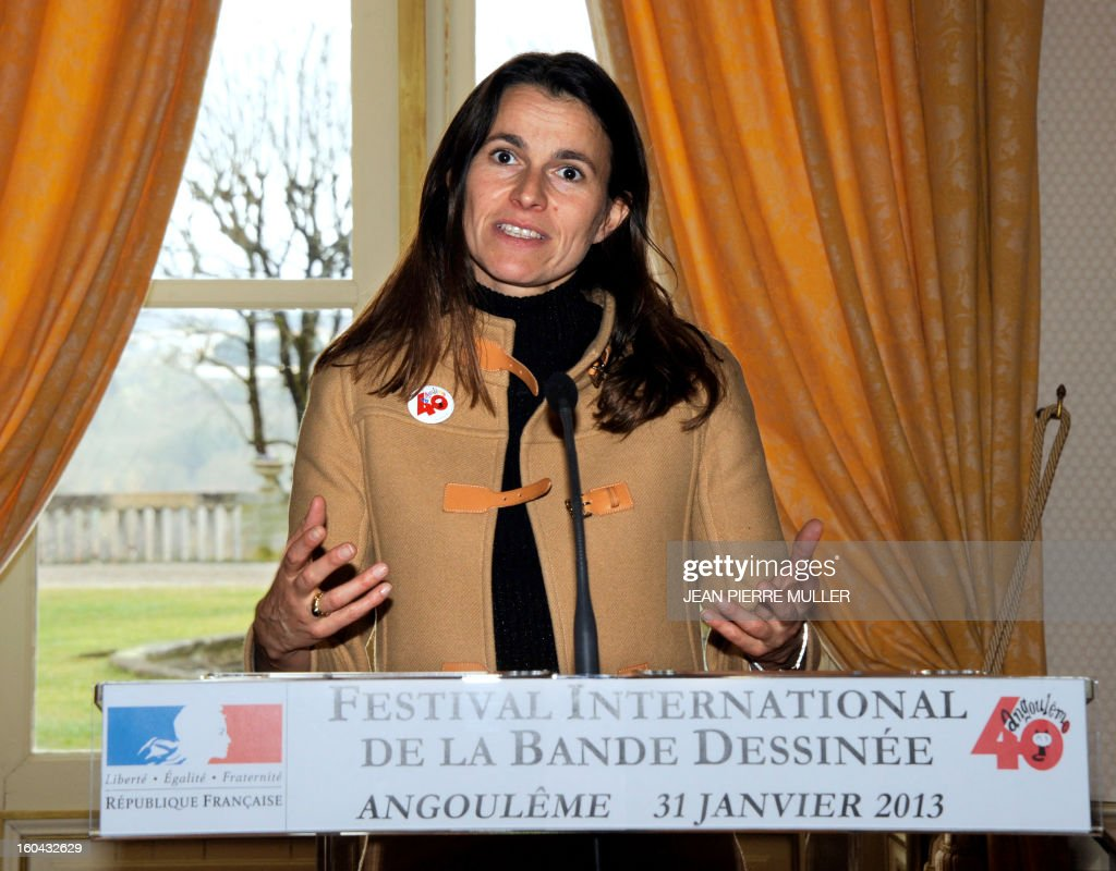 French Culture Minister Aurelie Filippetti delivers a speech during the opening of the 40th International Comic book festival of Angouleme on January 31, 2013.