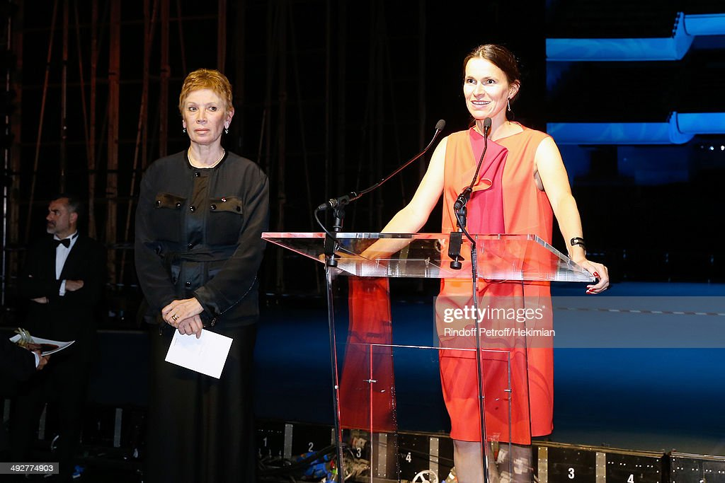 French Culture Minister Aurelie Filippetti (R) pays tribute to Dance Director of the 'Opera de Paris' Brigitte Lefevre (L) the AROP Charity Gala. Held at Opera Bastille on May 21, 2014 in Paris, France.