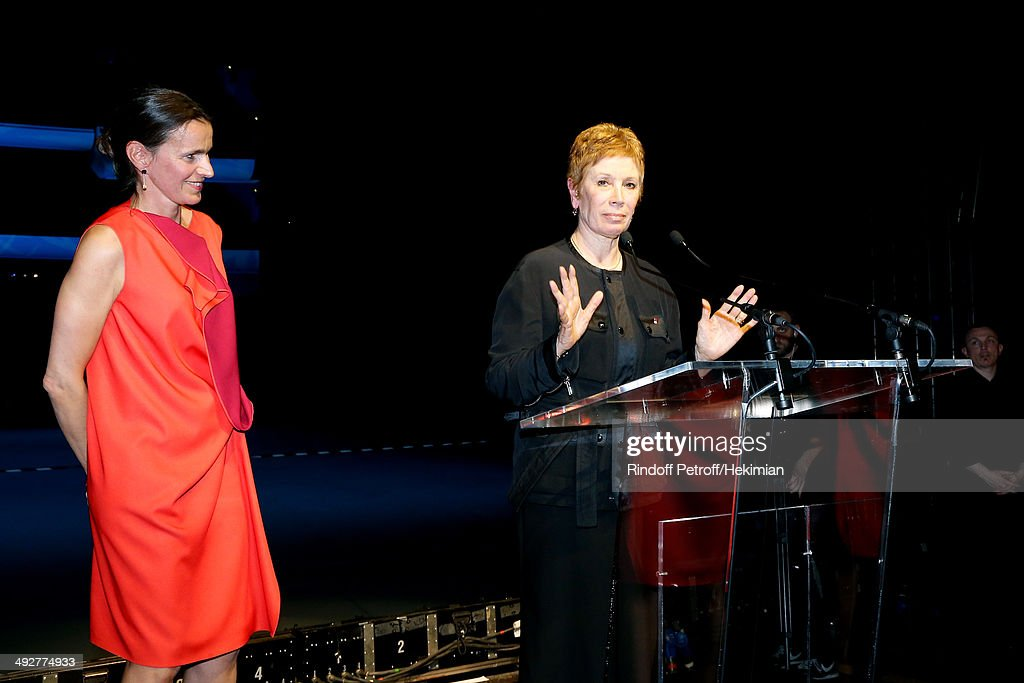 French Culture Minister Aurelie Filippetti (L) pays tribute to Dance Director of the 'Opera de Paris' Brigitte Lefevre (R) the AROP Charity Gala. Held at Opera Bastille on May 21, 2014 in Paris, France.