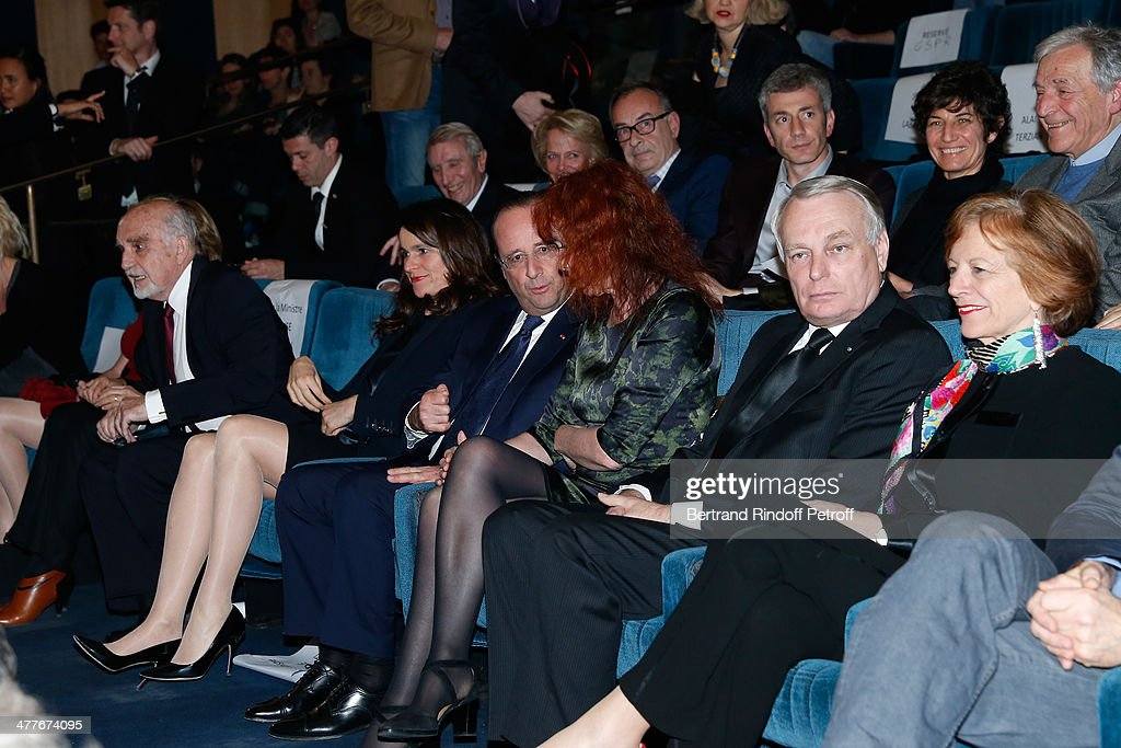 French Culture Minister Aurelie Filippetti, President of the French Republic Francois Hollande, actress Sabine Azema, French Prime Minister <a gi-track='captionPersonalityLinkClicked' href=/galleries/search?phrase=Jean-Marc+Ayrault&family=editorial&specificpeople=551961 ng-click='$event.stopPropagation()'>Jean-Marc Ayrault</a> and his wife Brigitte Ayrault attend the 'Aimer, Boire Et Chanter' Paris movie premiere. Held at Cinema UGC Normandie on March 10, 2014 in Paris, France.