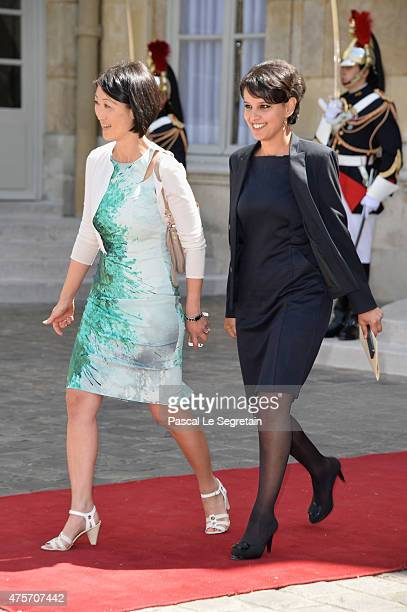 French Culture Minister Fleur Pellerin and Minister of National Education Najat VallaudBelkacem are seen in the courtyard of the Hotel Matignon on...